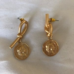 Gold Coin Knot Earrings